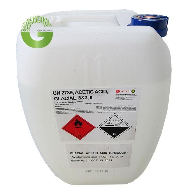 Hóa chất CH3COOH 99% - Acid Acetic 99%, Hàn Quốc, Đài Loan, 30kg/can.