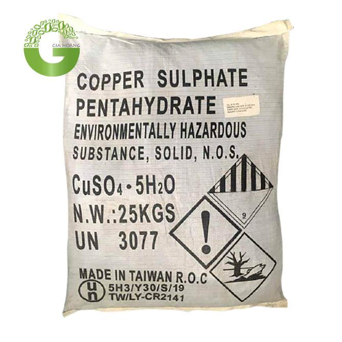 CuSO4.5H2O - Copper Sulphate Pentahydrate 24.5%, Đài Loan, 25kg/bao.